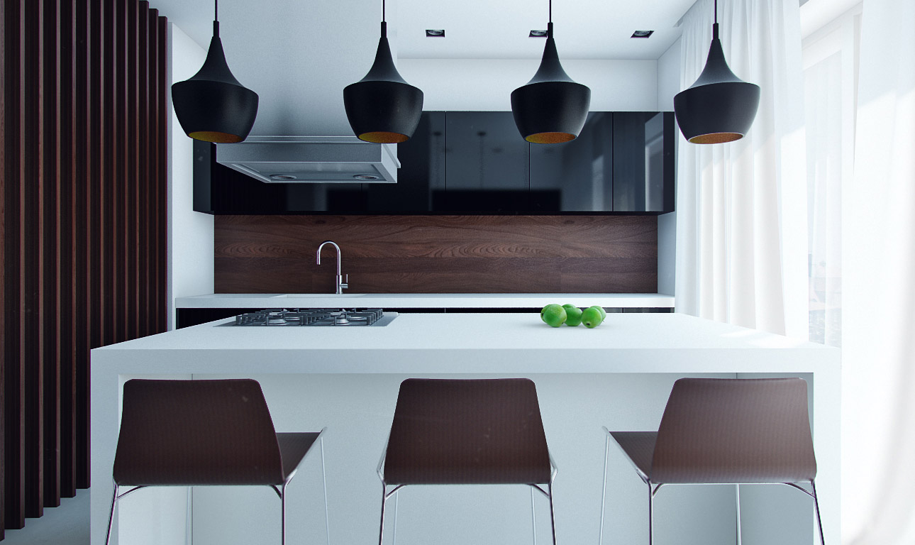 Kitchen-Decoration-with-Dark-Brown-and-White-Color